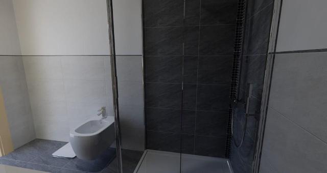 Parete Doccia Senza Piastrelle: Parete doccia divisoria fissa con anta mobile.